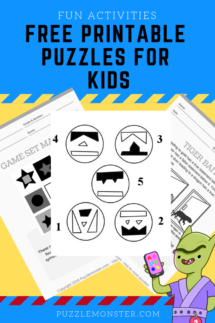 photograph relating to Printable Puzzles for Kids titled Totally free printable puzzles for young children - Logic Puzzles and Mind Video games
